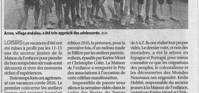 Le Secteur Jeunes dans le journal !!!